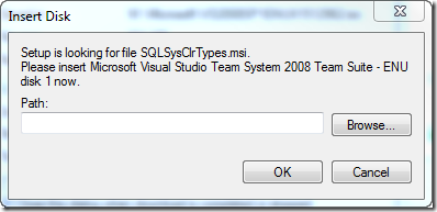 Setup is looking for file SQLSysClrTypes.msi.